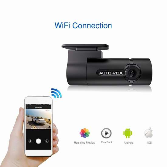 AUTO-VOX D6 WiFi 300°旋转 全高清迷你行车记录仪 71.39加元限量特卖!送16G储存卡!