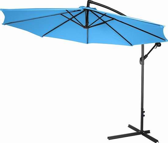 Trademark Innovations 10英尺豪华曲柄庭院遮阳伞 101.98元限量特卖并包邮!