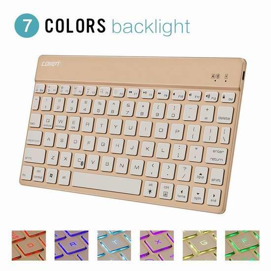Collen 七彩背光超薄超轻蓝牙键盘 27.99加元限量特卖并包邮!两色可选!