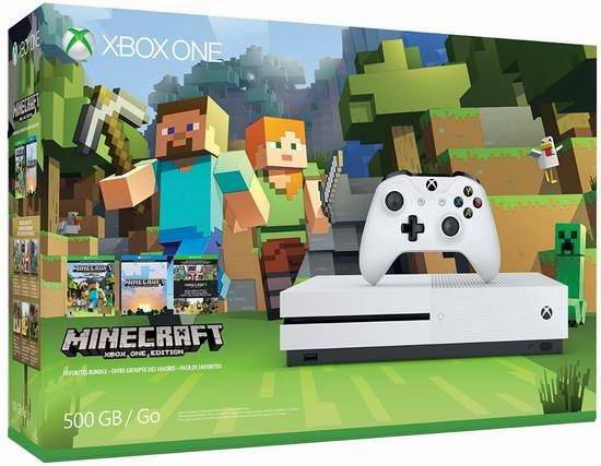 历史最低价!Xbox One S 500GB 家庭娱乐游戏机+游戏套装 328.99-329.99加元限时特卖并包邮!4款可选!