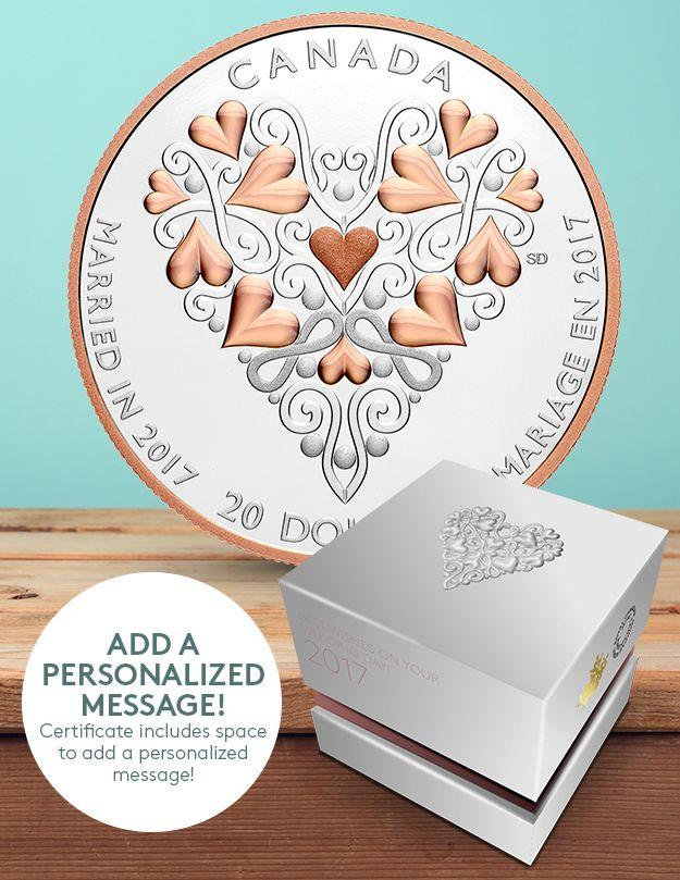 2017年1盎司纯银粉红镀金结婚纪念币 112.95加元销售并包邮!