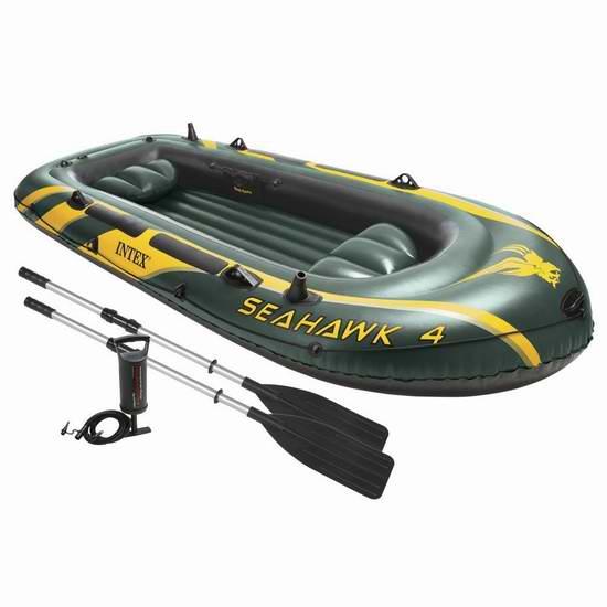 历史新低!最新版 Intex Seahawk 4人坐充气船/橡皮艇/钓鱼船5.4折 102.28加元限时特卖并包邮!
