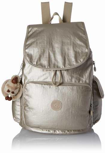 历史新低!Kipling BP3876 Ravier 时尚金色双肩背包/猩猩包 100.35加元限时特卖并包邮!
