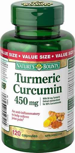 历史新低!Nature's Bounty 自然之宝 Turmeric Curcumin 姜黄素450毫克胶囊120粒超值装6.2折 11.99加元限时特卖!