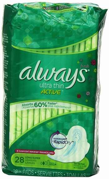 历史新低!Always Super Fresh Active 超薄护翼超吸日用卫生巾(2x28片)超值装 7.99加元限时特卖!