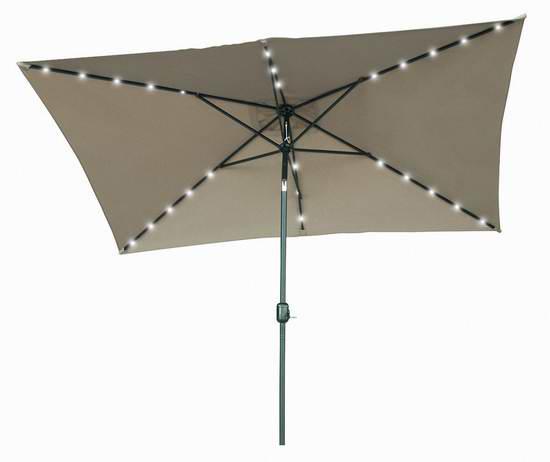 Trademark Innovations 10x6.5英尺矩形太阳能照明庭院遮阳伞 68.85加元限量特卖并包邮!