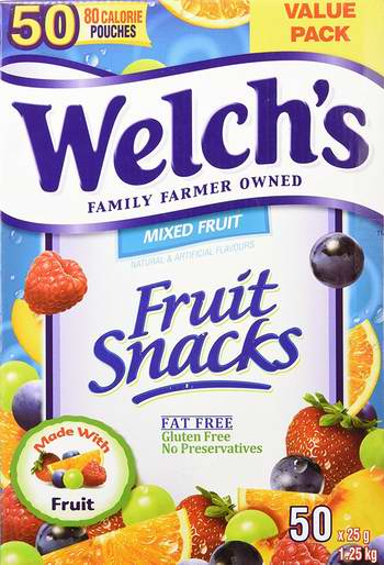 Welch's Fruit Snacks 纯果汁水果软糖(50粒,1.25公斤)6.8折 18.59元限量特卖!