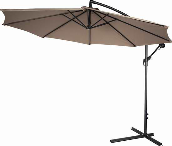Trademark Innovations 10英尺豪华曲柄庭院遮阳伞 116.73加元限量特卖并包邮!
