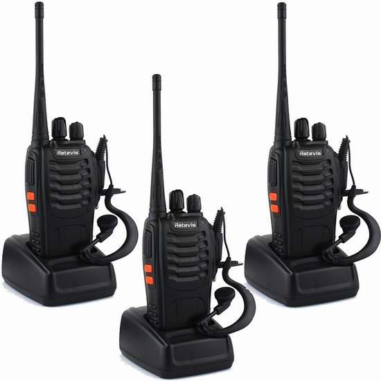 Retevis H-777 Walkie Talkie 5W UHF 400-470MHz 16信道无线专业双向对讲机/手台(内置手电,带耳机)3只装 67.99加元限量特卖并包邮!