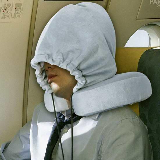 KINDEN 舒适记忆海绵U型护颈枕+遮光隔音帽套装 26.34加元限量特卖!