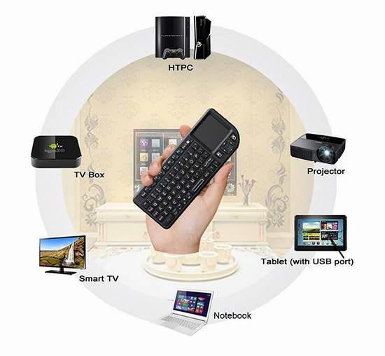 iClever IC-RF01 2.4G 超迷你带触摸板无线多媒体键盘 20.09加元限量特卖!