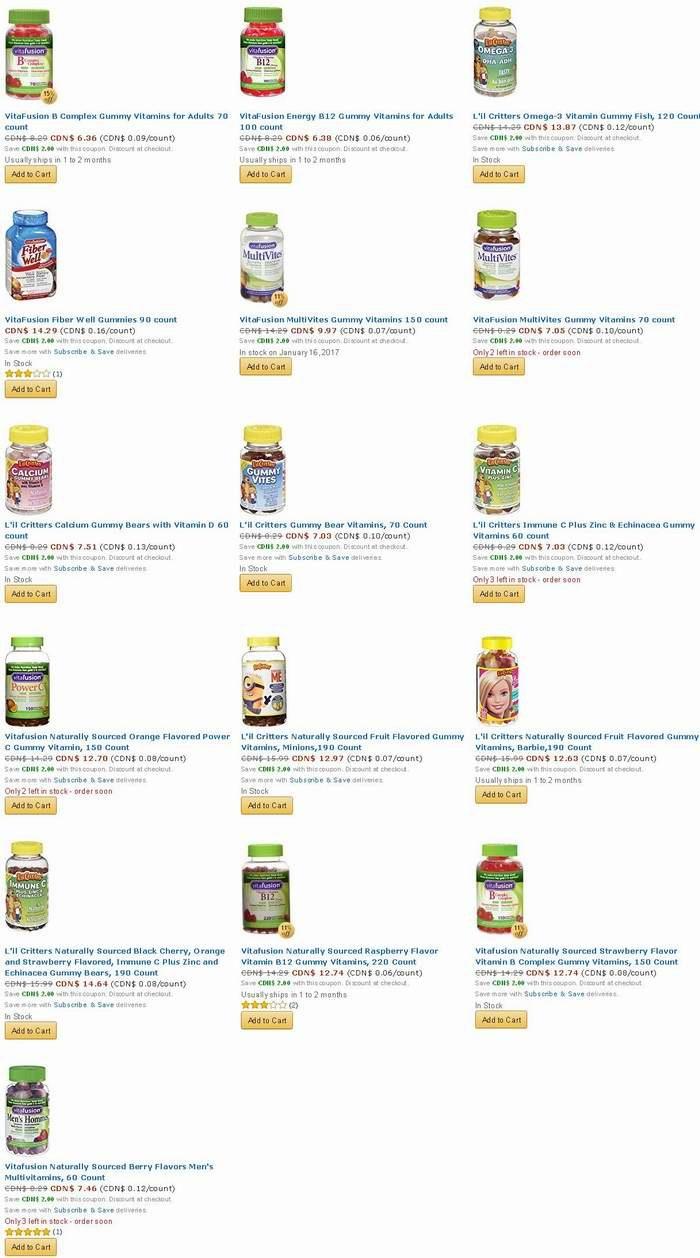 精选16款 VitaFusion & L'il Critters 成人儿童维生素 小熊糖/软糖 特价销售,额外立减2元!