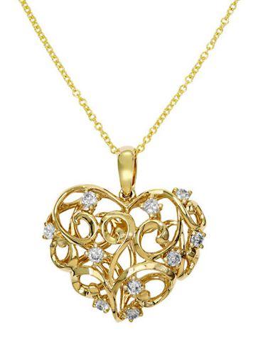 EFFY 14K黄金心形钻石项链 1084.39加元,原价 2835加元,包邮