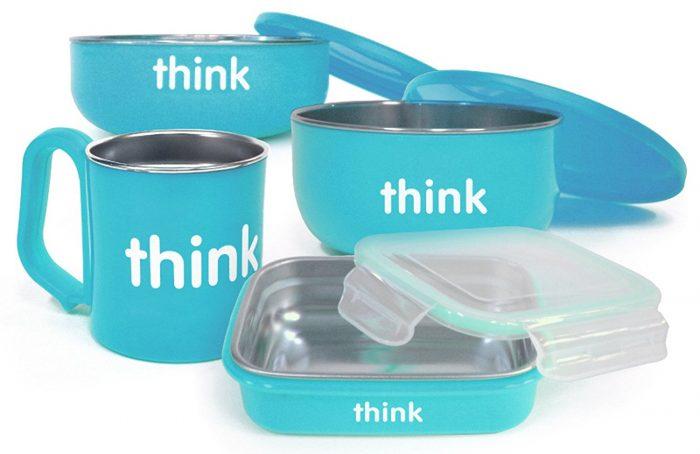 Thinkbaby 蓝色儿童餐具套装 47.99加元,原价 55.27加元,包邮