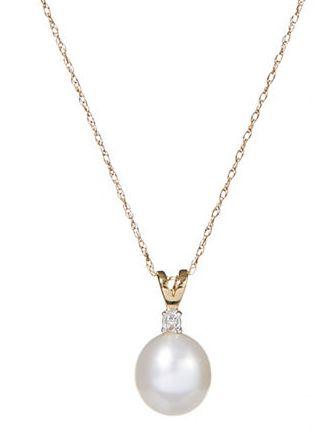 FINE JEWELLERY 10K金8毫米珍珠钻石项链 119.25加元,原价 265加元,包邮