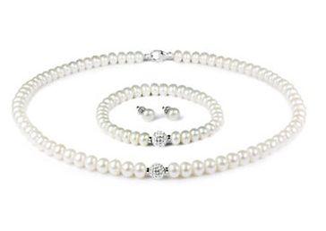 FINE JEWELLERY 6-9mm珍珠项链手链耳环+8mm水晶套装 148.5加元,原价 330加元,包邮