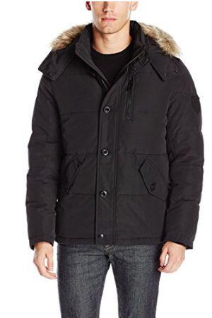 Calvin Klein 男士黑色短款带帽防寒服 49.34加元(XXL号),原价 295加元,包邮