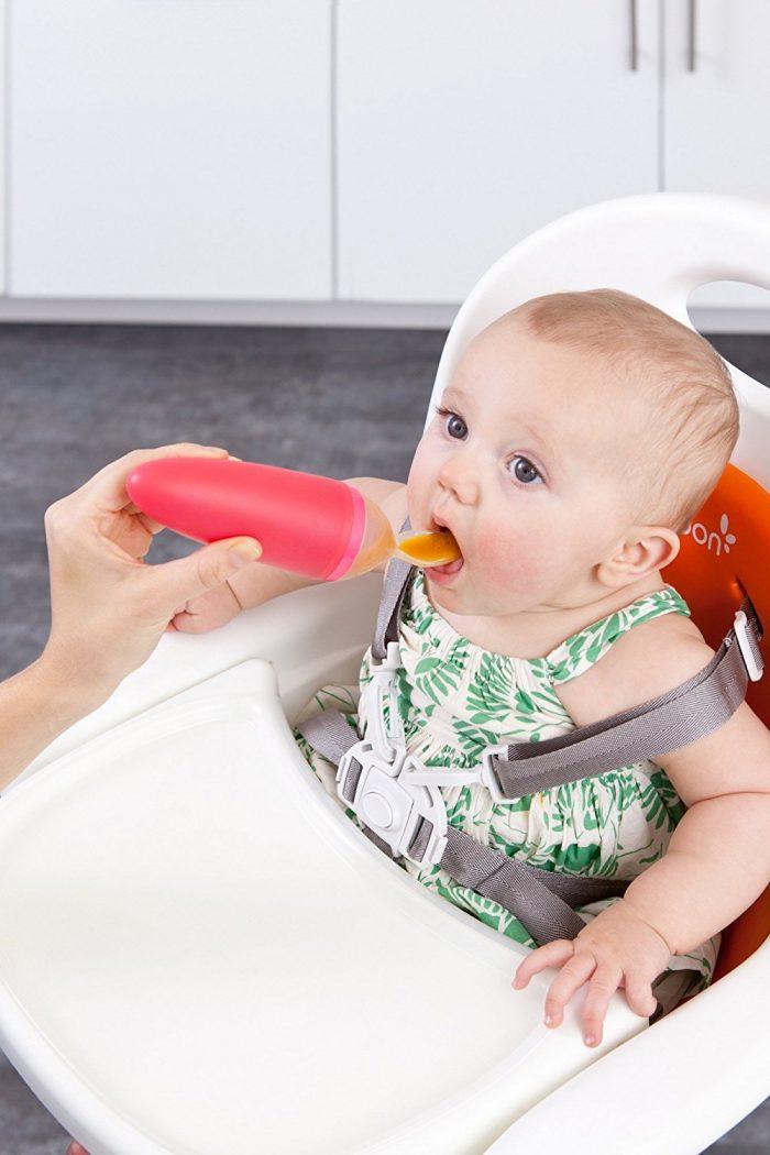 Boon Squirt Silicone橘色 挤压式婴儿米糊果泥调羹 5.99加元,原价 10.99加元