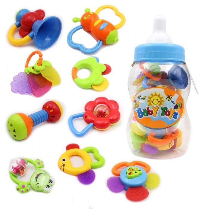 Wishtime 宝宝第一个摇铃和牙胶玩具9件套 19.71加元限量特卖,原价 29.99加元