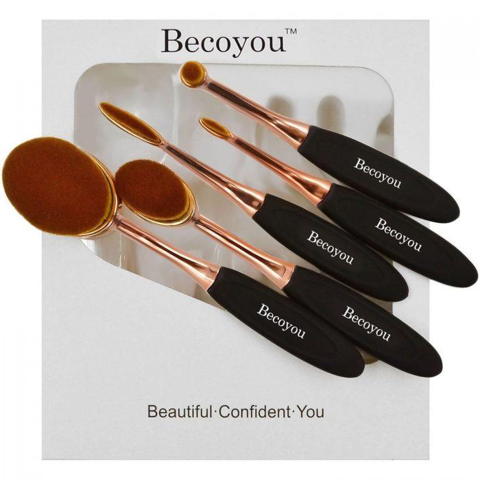 Becoyou专业椭圆形/牙刷型化妆刷套装 15.99加元,原价 39.99加元