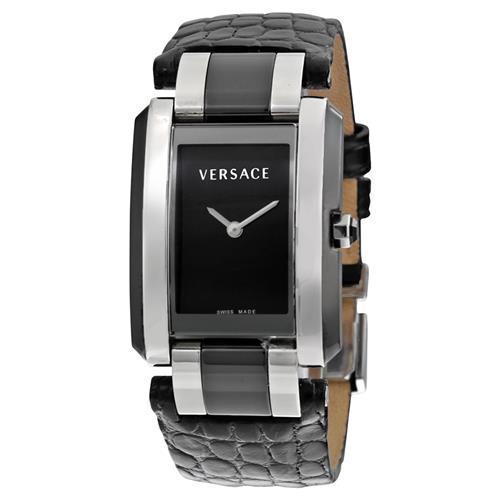 Versace 范思哲 70Q99D009-S009 黑皮鱷魚帶方盤時尚腕錶 631.99加元,原價 1709.99加元,包郵