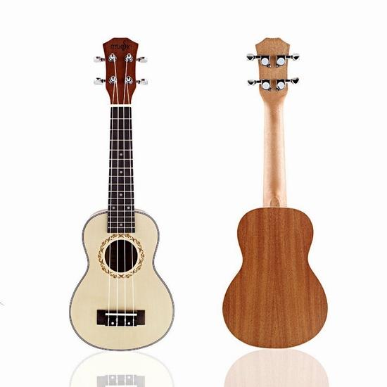 Mugig Ukulele Retro Spruce Panel 21寸夏威夷小吉他/尤克里里5.3折 55.99加元包邮!