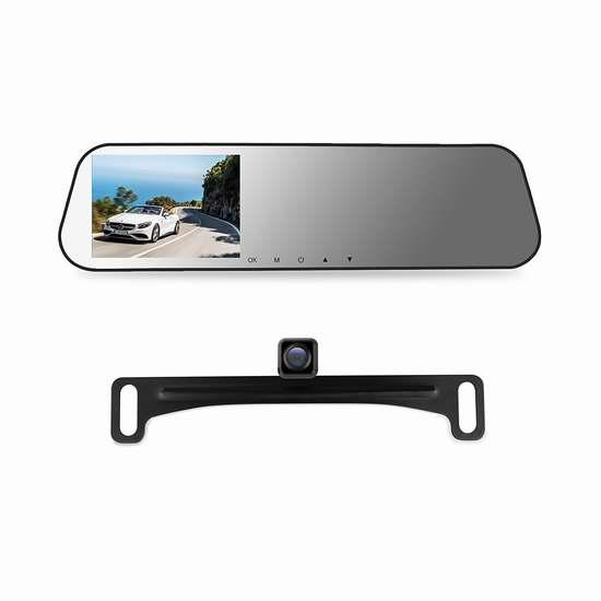 AUTO-VOX M2 1080P 高清广角后视镜行车记录仪+倒车后视摄像头套装 76.49-96.04加元限量特卖并包邮!送32GB闪存卡!两色可选!