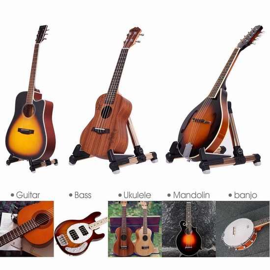 白菜价!历史新低!Mugig 便携式吉他/乐器支撑架1.8折 10.99加元清仓!3色可选!