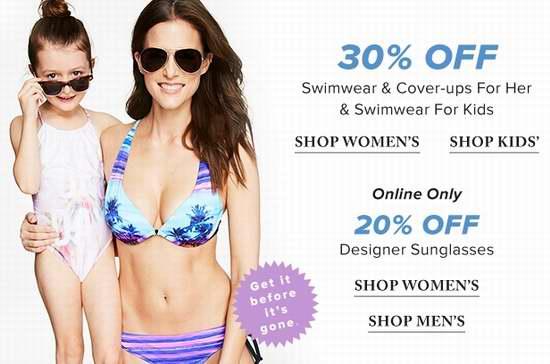 精选大量 Ray-Ban、Gucci、Lord & Taylor、Speedo 等品牌男女时尚太阳镜、女式女童泳装特价销售!