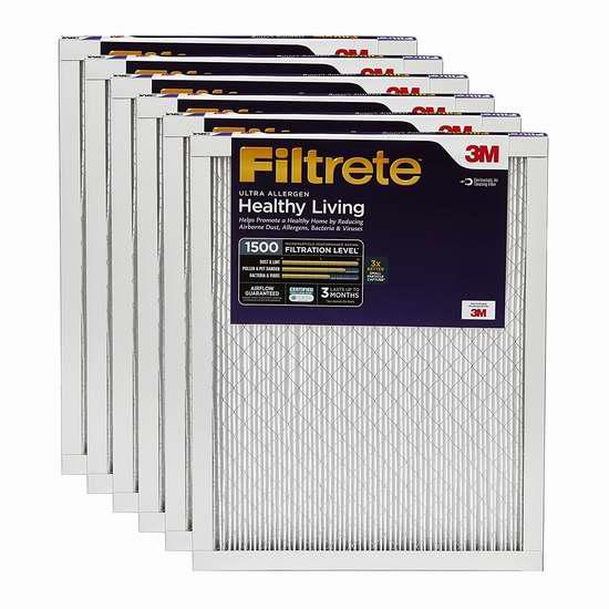 历史最低价!Filtrete Healthy Living MPR 1500 防过敏家庭空调暖气炉过滤网(6个装 16x25x1英寸)5.1折 79.99加元包邮!