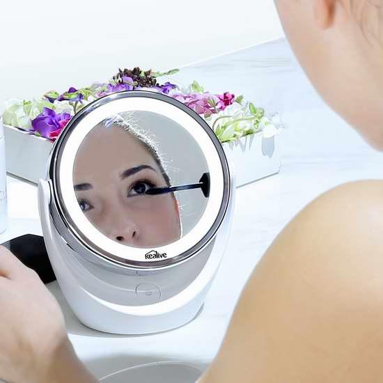 Kealive 5倍放大360°旋转双面LED照明化妆镜 29.99加元限量特卖并包邮!