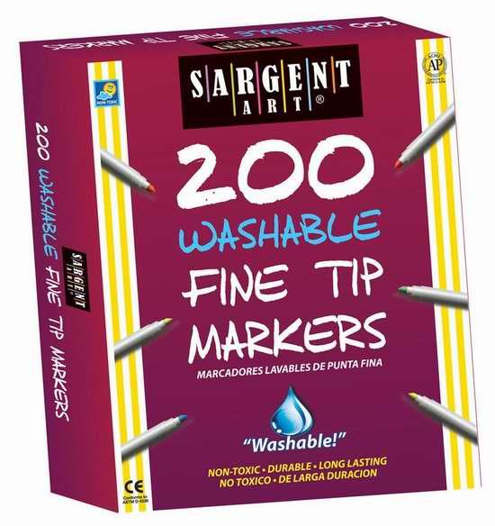 售价大降!历史新低!Sargent Art 22-1526 可水洗马克笔(10色,共200支) 38.29加元限时特卖并包邮!