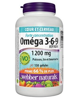 Webber Naturals Omega 3-6-9复合鱼油软胶囊 10.9加元(150粒),原价 14.97加元