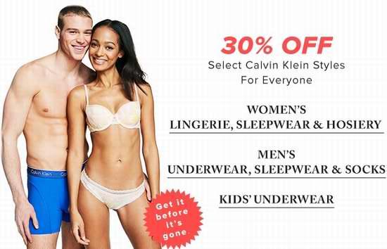 今日闪购:精选多款 Calvin Klein 成人儿童内衣、文胸、内裤、睡衣等全部7折限时特卖!