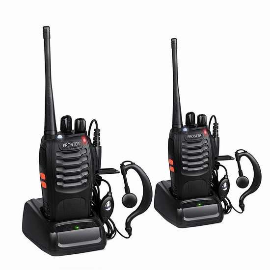 Proster PST78 16信道无线专业双向对讲机/手台(内置手电,带耳机)2只装 35.99加元限量特卖并包邮!