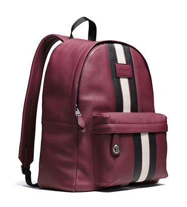 Coach 粒面皮革时尚条纹双肩背包4折 296加元限时特卖并包邮!