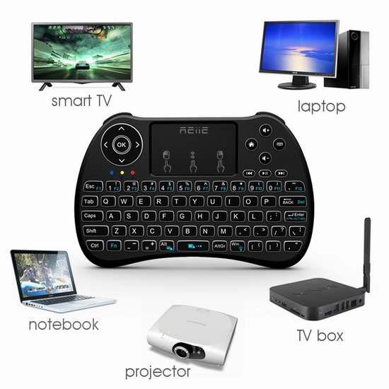 REIIE H9+ 带触摸板无线多媒体迷你背光键盘 16.99加元限量特卖!