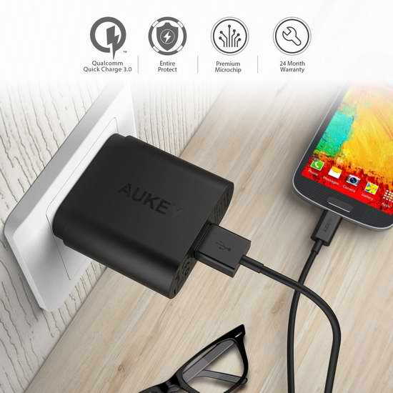 AUKEY 高通快充3.0 单口USB智能快速充电器 13.99加元限量特卖!