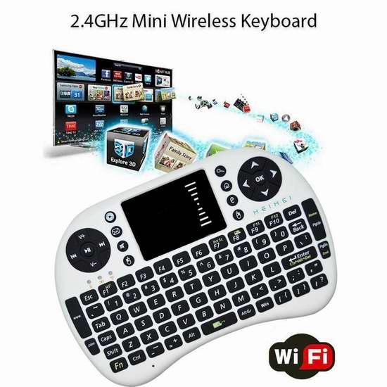 HEIHEI 2.4GHz 帶觸摸板無線多媒體迷你鍵盤 13.59加元限量特賣!