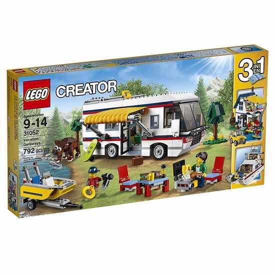 历史新低!LEGO 乐高 31052 创意百变系列 三合一度假露营车积木套装(792pcs)6.2折 56.01加元包邮!