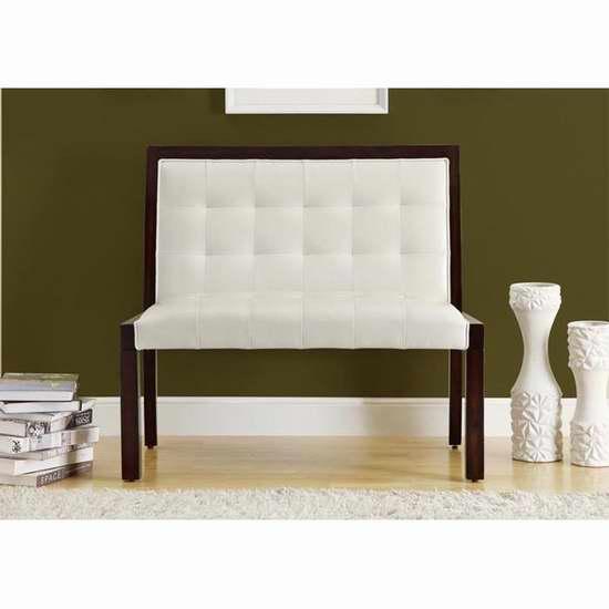 历史新低!Monarch Specialties 40英寸人造革木质长椅2.2折 139.62加元限时清仓并包邮!