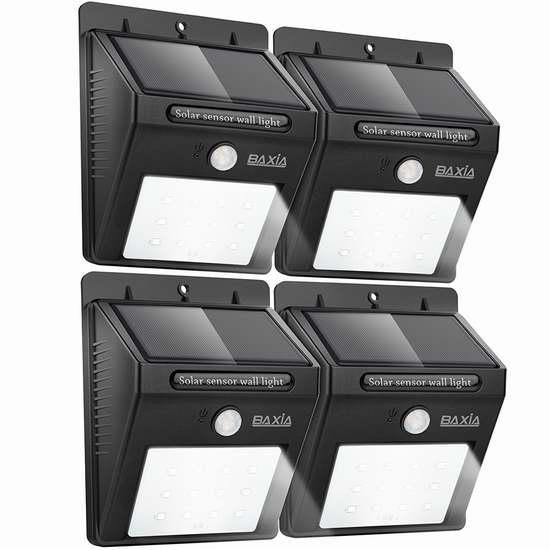 BAXIA TECHNOLOGY 12 LEDs 太阳能防水运动感应灯4件套 29.99加元限量特卖并包邮!