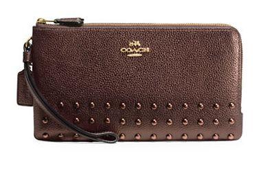 COACH Lacquer Rivets 时尚真皮双层拉链钱包 103.5加元限时特卖并包邮!两色可选!