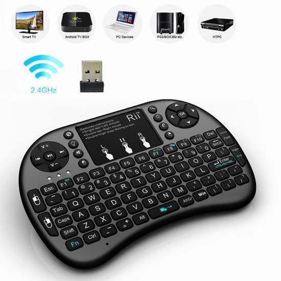 Rii i8 2.4GHz 触摸板无线多媒体LED背光迷你键盘 15.99加元限量特卖!