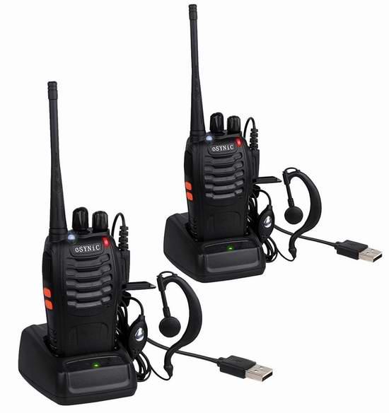 ESYNiC Walkie Talkies 16信道无线专业双向对讲机/手台(内置手电,带耳机)2只装 35.65加元限量特卖并包邮!