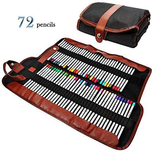 GHB 着色书/素描专用72色彩色铅笔+帆布铅笔袋套装 31.44加元限量特卖并包邮!