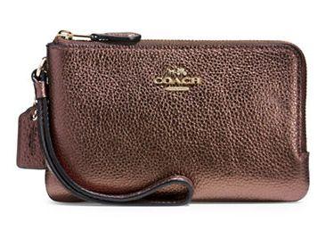 COACH 女士时尚粒面真皮双角拉链腕包4.5折 49.5加元限时特卖!