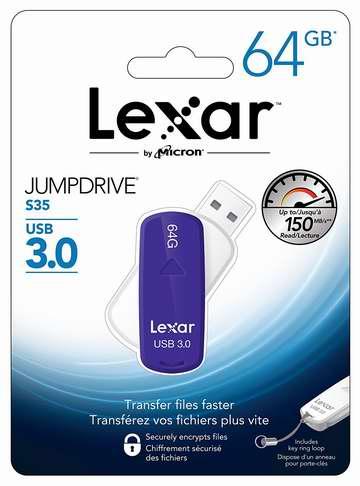 历史新低!Lexar 雷克沙 Jump Drive S35 64GB USB3.0 U盘2.6折 14.99加元限时特卖!