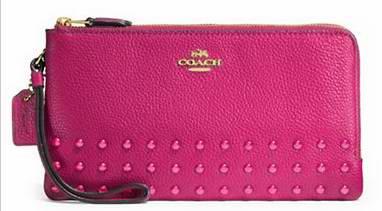 COACH Lacquer Rivets 时尚真皮双层拉链钱包 129.37加元限时特卖并包邮!