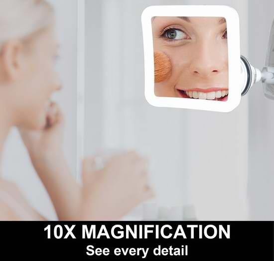 Fancii 10倍放大360度旋转LED照明化妆镜 26.89加元限量特卖!